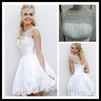 beads short mini lace real picture sample appliques bride gown sleeveless vestido de noiva longo real Wedding Dress 2014 NK-899