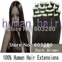 66cm60cm55cm50cm45cm40cm Natural human Hair Tape In Extensions #2 Dark brown color 30g/40g/50g/60g/70g  20pieces/set