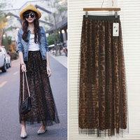 Promotion! Brand New Autumn New Sexy Women Maxi Skirt Leopard Chiffon Mesh Elastic Waist Long skirts female saias femininas