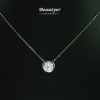 Classic White Gold Plated Cubic Zircon Clear Stone Circle Pendant Necklace Women Collarbone Necklaces Beautyer Jewelry BXL58