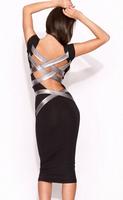 Plus Size XXXXL Summer 2014 Women Sexy Black Round Neck Strappy Back Skintight Midi Bodycon Dress LC6250 high street novelty