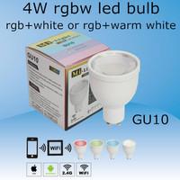 2.4G 4W AC85-265V RGBW (rgb+white or rgb+warm white)GU10 led bulb,controlled by IOS/Android system wifi control or rgbw remote