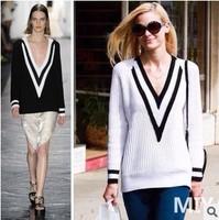 Fall 2014 Women Color Block Pullover V White Black Knit long warm sweater with neck women tricotado vestidos femininos casacos