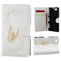 free shipping 4 Colors Butterfly Pattern Wallet Leather with Card Cash Slot Stand Holder Cover For Sony Xperia Z1 Mini D5503