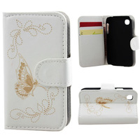4 Colors Butterfly Pattern Wallet Leather with Card Cash Slot Stand Holder Case Cover For LG L40 free shipping