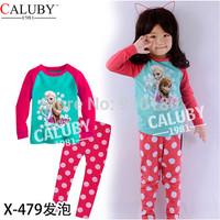6sets/lot baby girls Frozen Anna Elsa long sleeve cotton pyjamas set kids pajamas sleepwear/nightgown