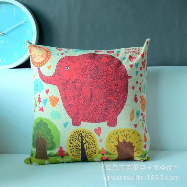 Decorativa algodão / linen fronha lance sofá capa de almofada pequena elefante vermelho grátis frete(China (Mainland))