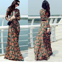 Stunning New 2014 autumn winter women vintage fashion long sleeve lace dress floor length plus size brand maxi casual dresses xl