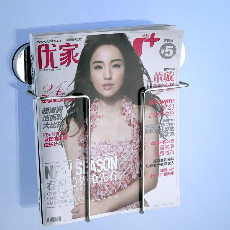 Awooden Stainless Steel Vacuum Suction Cup Magazine Rack Ipad Holder Newspaper Shelf Bookshelf For Living Room No Need Punching(China (Mainland))