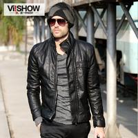 leather jacket men's clothing male fashion black slim leather motorcycle leather jacket men
