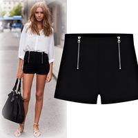 2014 summer new fashion casual shorts women double zipper high waist shorts large yard stretch Hot Pants Free Shipping 80513