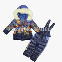 Children's Winter Clothing Set Baby Girls Ski Suit Kids Sets Windproof Flower Warm Coats Fur Jackets+Pants