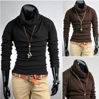 Top Brand 2013 Autumn and winter men rabbit fur cashmere slim male basic turtleneck sweater M L XL XXL