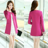 2014 autumn female blazer outerwear slim medium-long outerwear long-sleeve plus size clothing