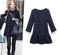 European style autumn long sleeve office dress women work wear Plaid autumn dress S/M/L/XL/XXL dropship AG6702LS