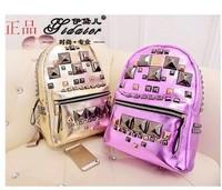 New 2014 Women Fashion Rivet Leather Backpack Mochila Feminina Korean Cute Backpacks Desigual Bag Free Shipping