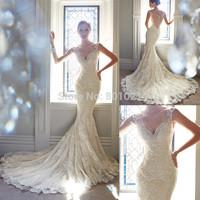 vestidos de novia New Arrival Sexy V Neck Sleeveless Brush Train Bridal Gown Lace Appliques Mermaid Wedding Dresses Gown 2015