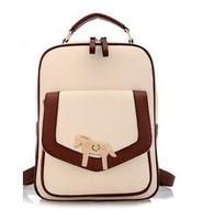 New 2014 Women Fashion Pu Leather Backpack Korean Vintage Backpack Girls School Bags Laptop Desigual Bag Free Shipping
