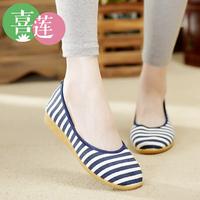 Beijing cotton-made 2014 fashion shoes women's shoes single shoes stripe fluid breathable vintage wedges