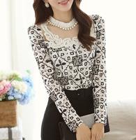blusas femininas 2015 Lace bottoming shirt Ladies elegant long sleeve chiffon shirt women blouse S/M/L/XL/XXL dropship AG6773CY
