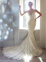 free shipping robe de soiree 2014 new fashion Cheap casamento lace applique vestido de noiva mermaid wedding Dress bridal gown