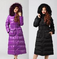 Women's Large Fur Duck Down Jacket Fur Hooded Thick Super Long Winter Parka Coat