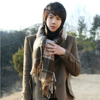 Hot 2014 New England high-quality men's plaid cashmere scarves men and women warmth scarf Free shipping