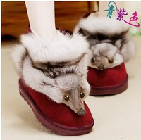 Women winter fox fur snow boots short ankle boots Warm fox head decoration Nubuck leather suede boots
