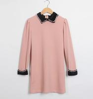 Europe pearl collar puff sleeve chiffon dress fashion elegant long sleeve dress dropshipping AG6726LS