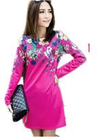 Promotion! Hot Women 2014 Autumn Winter Long sleeve Digital Print Dress Big size , Vintage Ol elegant Dresses L XL 2XL 3XL 4XL