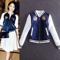 Free shipping women's long sleeve o-neck Tiger printed zipper jacket coat outerwear ladies coat wholesale