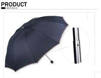 High Quality Commercial Embossed Automatic Umbrellas Male Umbrella Folding Umbrella Men Personality 3 Folded Umbrella (Black)