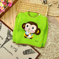 new 2014 Autumn baby girls sweater winter knitted cardigans children clothing pullovers full sleeve Monkey print sweaters
