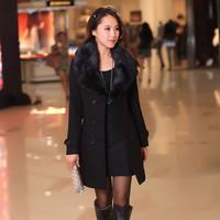 High Quality New Women's Wool Coat Fur Collars Outerwear Winter Overcoat Women Blends Parkas Plus Size 5XL 4Xl