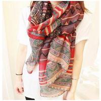 1pcs Fashion Women Long Voile Tribal Aztec Printed silk Scarf Shawl Muslim Hijab autumn-winter,Free Shipping