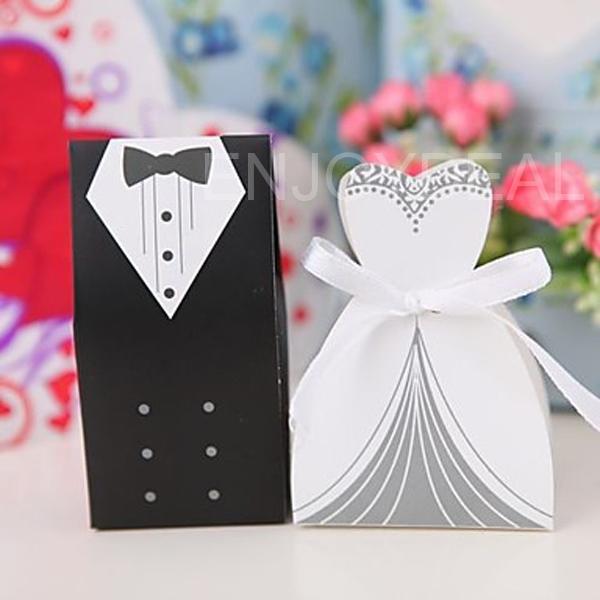 Tuxedo Dress AND Bridal Dress Shaped Wedding Candies BOX Special Candy BAG H5(China (Mainland))