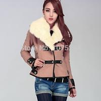 2015 Autumn Winter Women Coat Woolen Down Jacket Casacos Femininos Desigual Rabbit Fur Coat Plus Size Spring Outerwear Overcoat
