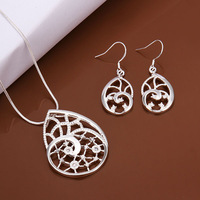 New Fashion Wholesale women's 925 Sterling Silver jewelry sets flower necklace+earrings jewelry best gift Free Shipping S470
