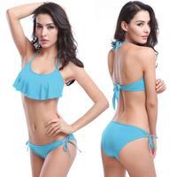 halter top 2Pcs New Hot swim Bikinis Set Bandeau Top + Bottom Push Up Sexy Women's Swimwear Bikini Beachwear swimsuit