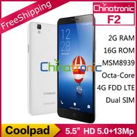 """New arrival Original Coolpad F2 Mobile Phone MSM8939 64-bit Octa Core 1.5G 4G FDD LTE/WCDMA Dual SIM 5.5""""HD IPS 2G RAM 16GB ROM"""