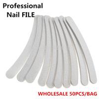 FREE SHIPPING Manicure Nail Tools Wholesale 50pcs/lot  Professional Plastic Emery Board Grey Sandpaper Nail Files  for Nail Art