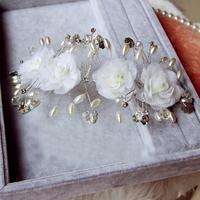 New Crystal Beads Simulated Pearl Flower Headband Bridal Pearl Crystal Adjustable Flower Hair Tiara Accessory Wedding Hair Dress