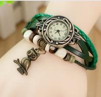1PCS Free Shipping Leather Vintage Watch Owl Pendant Bracelet Wristwatches Dropshipping Color Random