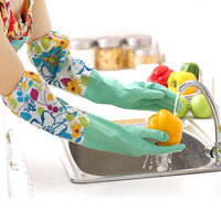 Flower sleeves lengthened thick warm velvet glove housework vegetables dishes clean laundry leather gloves latex gloves