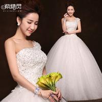 ONSale Promotion Princess dress bandage Fairy bride wedding formal dress 2014 one shoulder diamond decoration lace wedding dress