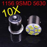 2014 new style 10 pcs 1156 P21W 5630 LED 9 SMD R10W turn signal steering lamp reversing back up light white blue