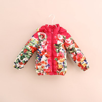 Hot sale 2014 winter new child long-sleeve fashion flower wadded jacket children cotton-padded jacket girls outerwear & coat