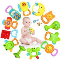 Handbell 0 - 6 baby toy baby rattle set large bottle teethers educational toys