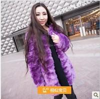 2014 autumn and winter women fur coat medium-long embossed three-dimensional rex rabbit hair overcoat thickening female