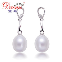 Romantic Women Freshwater White 9-10mm Pearl Dangles From Sterling Silver Water Drop Earrings